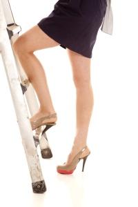 woman legs ladder